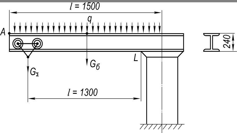 Расчетная схема стрелы